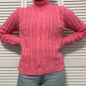 Chaps bubblegum pink cable knit sweater